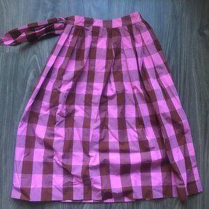 J Crew Pink Plaid Midi Skirt